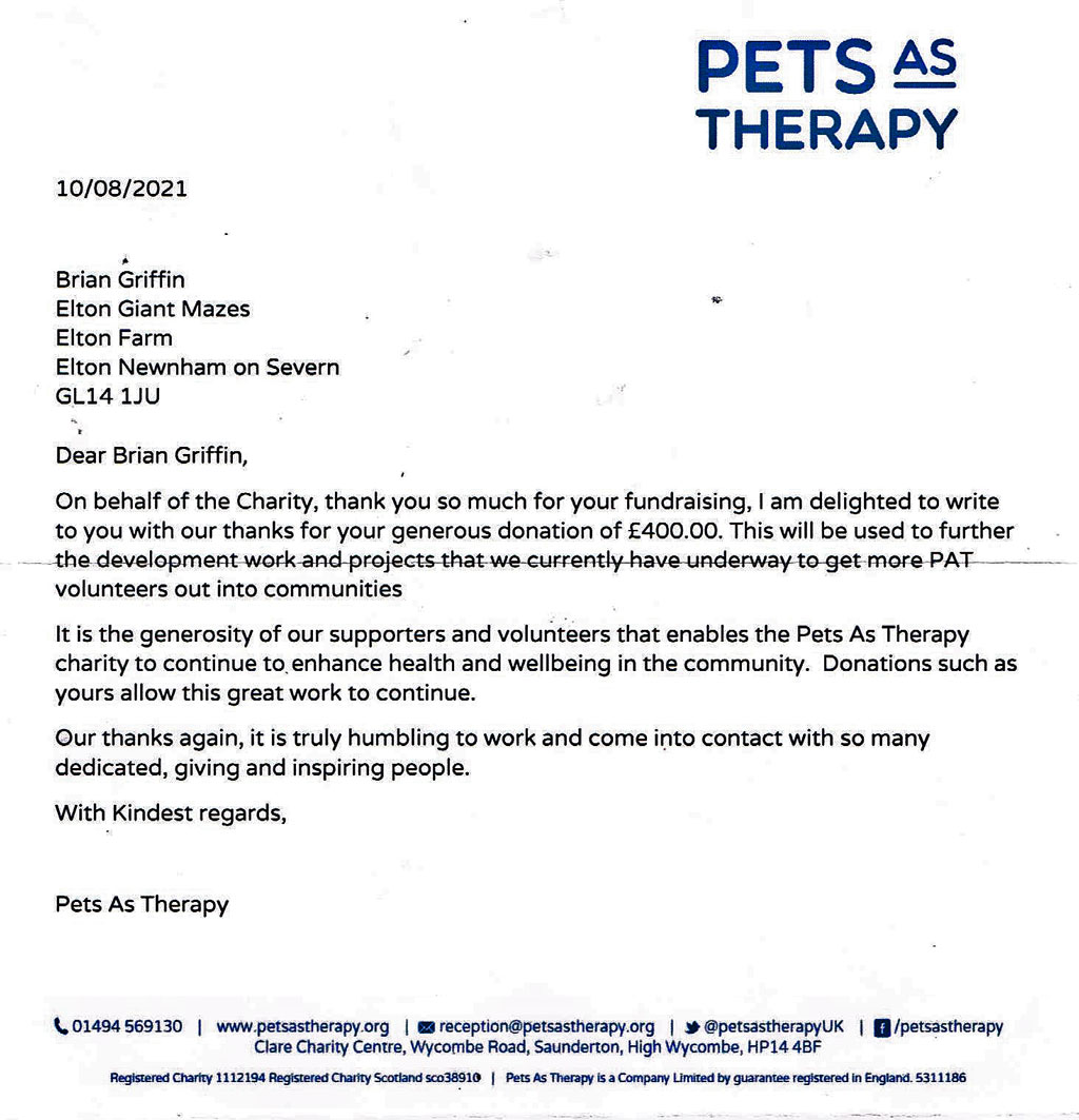 A letter from Pets as Therapy